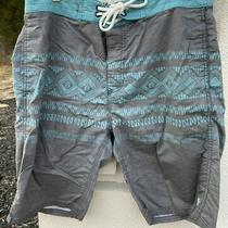 Mens Element Board Shorts Size 30 Dark Gray W/teal Aztec Print 1 Pocket on Back Photo