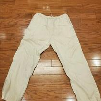 Men's Elements by Arnold Zimberg Large Tan 100% Linen Stretchy Waist Pants Photo