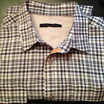 Men's Elie Tahari L X 32/ 33in Regular/fitted Blue Plaid  Shirt  Lk Photo