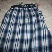 Men's Emporio Armani  Pajama Bottoms   Blue & White Plaid  Size L Photo