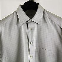 Men's Ermenegildo Zegna Xl Gray Check Dress Shirt 17 X 35 Point Collar Photo