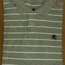 Men's Express 100% Cotton Gray and White Striped Short Sleeve Polo Shirt Xl Photo