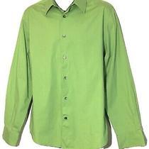 Mens Express 1mx Dress Shirt Size L (16-16 1/2) Color Green Photo
