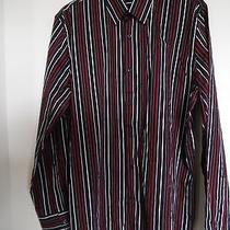 Men's Express Black Red & White Fitted Striped Dress Shirt Size Xl 17 17 1/2 Photo