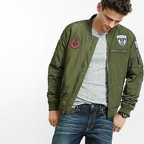 Men's Express Bomber Jacket W/flight Patches Sz L Nwot Olive Green Retail 148 Photo