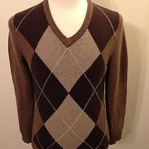 Men's Express Brown Argyle v-Neck Lambswool Sweater-S Small Photo