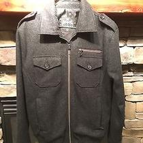 Men's Express Charcoal Wool Solid Military Jacket Size S Photo