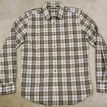 Men's Express Check Plaid Pattern Button Shirt Fitted Medium White Brown Photo
