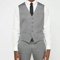 Men's Express Gray Wool Blend Oxford Suit Vest and Pants Medium 32x36 Photo