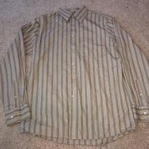Men's Express Green Striped Dress Shirt Size Medium Great Cond Photo