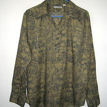 Men's Express Green v-Neck Casual Shirt Size M Photo