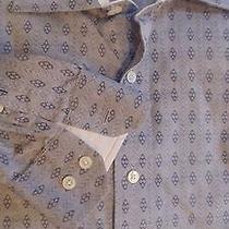 Men's Express Grey Geometric Print Modern Fit Long Sleeve Shirt Size Xl Photo