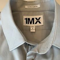Mens Express Imx Extra Slim Fit French Cuff Gray Dress Shirt - Size L 16-16.5 Photo