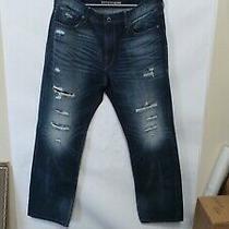 Men's Express Jeans Blake Loose Fit Straight Leg 36x32 Pans Dark Blue Distressed Photo