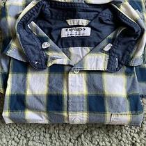 Men's Express Long Sleeve Button Down Shirt - Blue/white/yellow - Large Photo