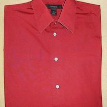 Men's Express Maroon Stretch Long Sleeve Dress Shirt Medium M Photo