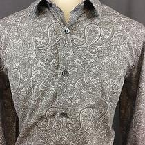 Men's Express Modern Fit Long Sleeve Paisley Shirt Size Large Photo
