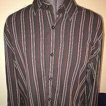 Men's Express Modern Fit Red Black & White Casual Dress Shirt Medium Lk Photo