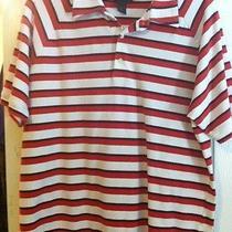 Men's Express Polo Shirt Sleeve Shirt Red Strip L Cotton Photo