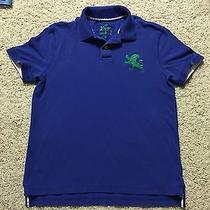 Men's Express Royal Blue Green Logo Slim Fitted Polo Casual Shirt Dress Medium Photo