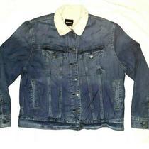 Men's Express Sherpa Lined Trucker Blue Jean Jacket Winter Coat Size Xl  Photo