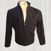 Men's Express Solid Black Bomber Jacket Wool Blend - Size Large Photo