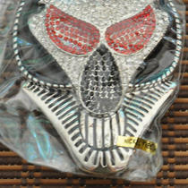 Men's Fancy Belt Buckle - Alien With Rhinestones and Free Leather Belt New Photo