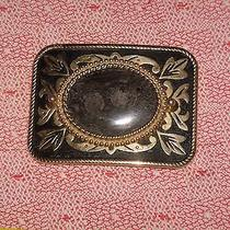 Men's Fancy Buckle Black Fossilized Rock Polished Raised Center Stone Gold Metal Photo