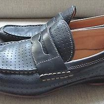 Men's Fossil Black/brown Leather Perforated Driving Moccasins Loafers Size 9 Photo