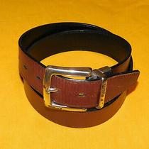 Men's Fossil Black/brown Reversible Genuine Leather Belt Size 32/80cm.. Photo
