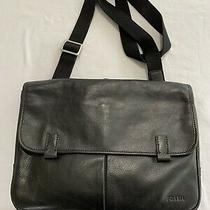 Mens Fossil Black Leather Messenger Bag/briefcase (Pre-Owned) Photo