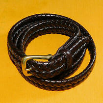 Men's Fossil Brown Genuine Braided Leather Belt Size 42/105cm.. Photo