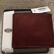 Men's Fossil Ingram Bifold Wine Leather Wallet      Nwt     Ml3447609 Photo