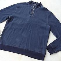 Men's Fossil Long Sleeve Casual Sweater Size Xl Dark Blue Pull-Over Cotton Photo