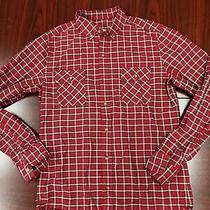 Mens Fossil Shirt Small Black Red White Checks Plaid Long Sleeve Christmas Colo Photo