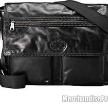 Men's Fossil Transit East West Black Leather Messenger Laptop Bag 268 Msrp New Photo