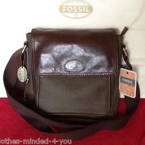 Men's Fossil Transit Plaid City Bag 100% Authentic Fossil Leather and Plaid Nwt Photo