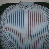 Men's Gap Button Up Blue Brown Striped Dress Shirt Size Large - Excellent Cond. Photo