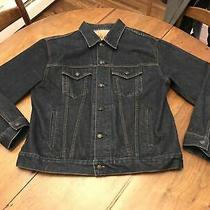 Men's Gap Dark Wash Blue Denim 100% Cotton Button Up Trucker Jean Jacket Size L Photo