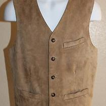 Men's Gap Genuine Tan Colored Suede Leather Front Vest W/cotton Back Size Small Photo