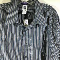 Men's Gap Grey Blue Stripes Long Sleeve Dress Shirt Xxl  Photo