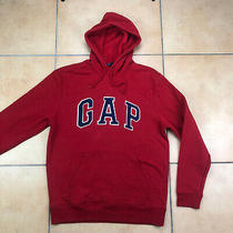 Mens Gap Hoodie Front Pocket Big Embroidered Logo Cotton Blend Red New Sz M Photo