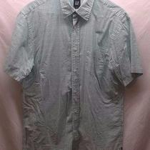 Men's Gap Large L Blue Plaid Button Down Shirt Short Sleeves Collar Pocket Euc Photo