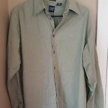 Men's Gap Stretch Medium Green Long Sleeve Button Down Front Shirt Photo