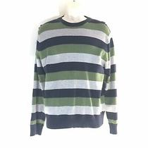 Mens Gap Sweater Med Navy Blue Green Gray Stripe Ribbed Stretch Photo