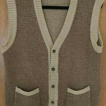 Men's Gap Sweater Vest Tan Tweed. Front Pockets Size Large Excellent Condition Photo
