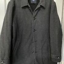 Men's Gap Wool Heather Gray Pea Coat Size Large Quilted Inside & Fleece Photo