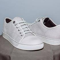 Men's Grey Lanvin Low Top Sneakers With Suede Toe Size 10.5 Photo