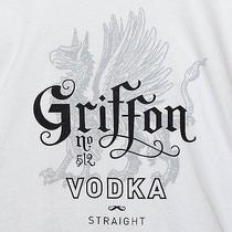 Men's Griffon No. 512 Vodka Straight Mustache White T-Shirt Xl Liquor  Photo