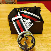 Men's Gucci Belt White Green Red 105cm (Waist 36-38) Photo